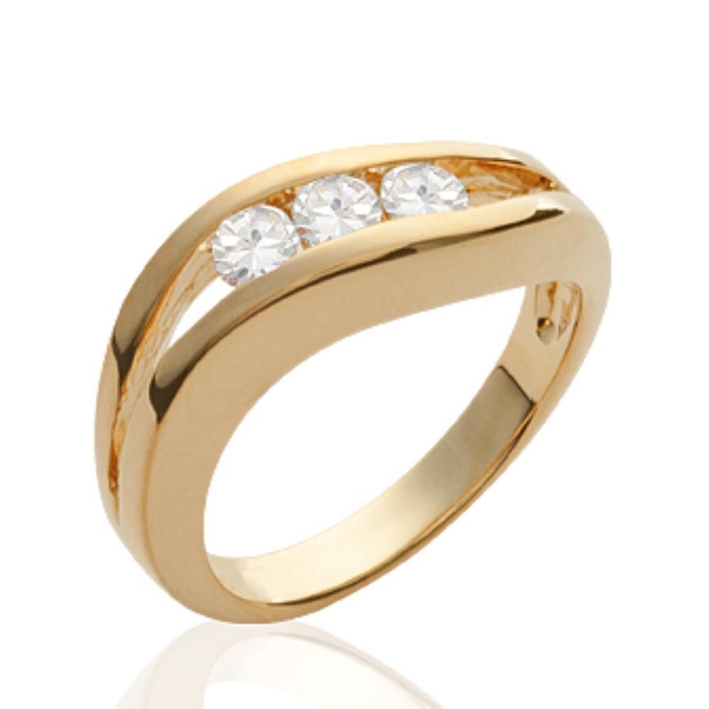- Oxyde de Zirconium Bague femme 18 carats ISADY Dena Noir Gold Plaqu/é Or 750//000