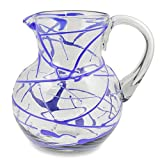 NOVICA Hand Blown Blue Glass Pitcher, 84 oz. 'Sapphire Swirl'