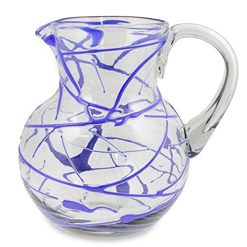 NOVICA Hand Blown Blue Glass Pitcher, 84 oz. 'Sapphire Swirl' by NOVICA