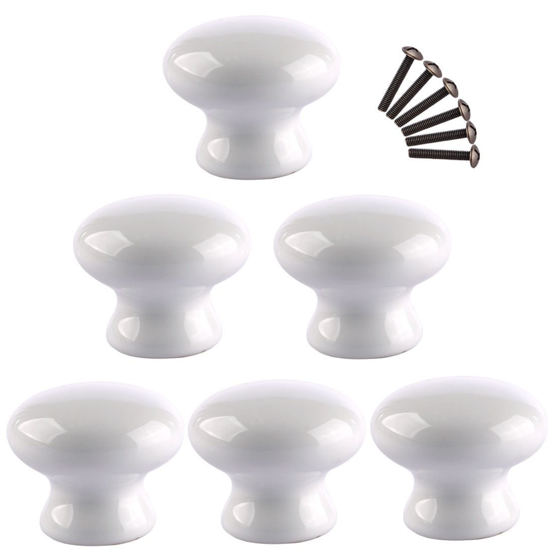 XSHION Cabinet Knobs,6 Pack Ceramics Door Knob Furniture Handle Drawer Cupboard Kitchen Handle Pulls for Living Room Bedroom(White)