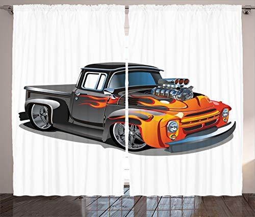 "Ambesonne Manly Curtains, Cartoon Hot-Rod Truck Antique Old Model Automobile Transport Nostalgia Illustration, Living Room Bedroom Window Drapes 2 Panel Set, 108"" X 84"", Orange Black"