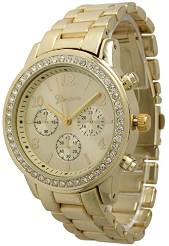 Costume Jewellery Watches (Geneva Metal Bracelet Watch Round Face Rhinestone CZ Watch Bling Jewelry (Gold))