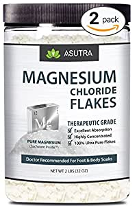 2 Jar Value Pack - Pure Zechstein Magnesium Chloride Flakes - Doctor Recommended For Foot & Body Soaks + FREE Magnesium E-Book