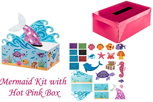 Darling DIY Mermaid Box Craft Kit for Valentines Card Exchange or Birthday Party (Mermaid Kit w Pink Box) ()