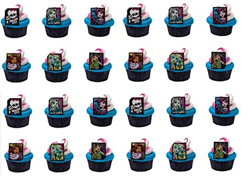 24 Monster High Cupcake Decoration Rings with Baking Cups (Monster High Rings)