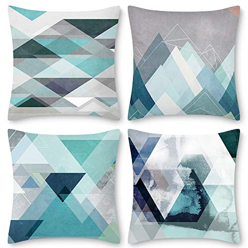 Decorsurface Teal Decorative Pillow Covers 18x18, Set of 4 Turquoise Art Throw Pillow Covers Cushion Cases for Living Room Bedroom - Modern Geometric Pattern (Room Pillow Living)