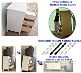 Furniture and TV Anti Tip Straps - Wall Anchor Kit for Baby Proofing Dresser, Bookshelf, Bookcase - Heavy Duty Earthquake Resistant - Protection for Children 6 Pack White & Bla