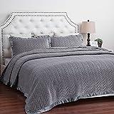 Velvet Quilt Set Full/Queen Size Smoky Grey Leaf Pattern Hypoallergenic All Season Lightweight by Bedsure