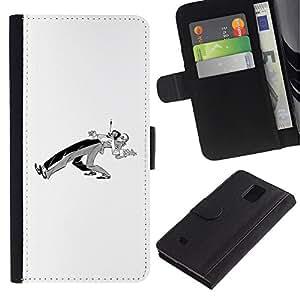 LASTONE PHONE CASE / Lujo Billetera de Cuero Caso del tirón Titular de la tarjeta Flip Carcasa Funda para Samsung Galaxy Note 4 SM-N910 / Dancers Couple Minimalist Black White