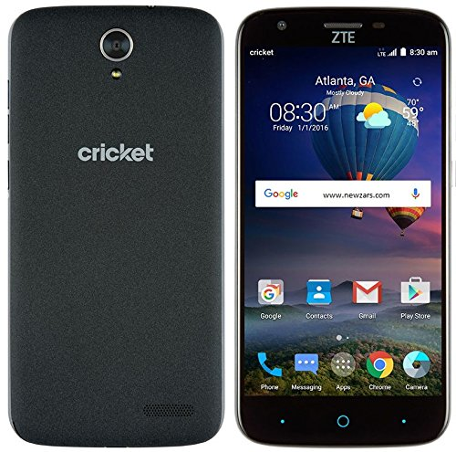LOCKED TO Cricket Wireless PLAN- ZTE Grand X3 4G LTE 5.5 TOUCH SCREEN with 16GB Memory Prepaid Cell Phone - Ebony Tweed