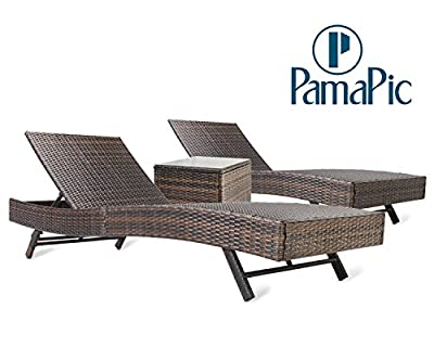 Pamapic 3PCS Outdoor Chaise Lounge Chair Set ?with Cushion Set of 2?, Adjustable Backrest PE Wicker Patio Furniture with Coffee Table (Brown)