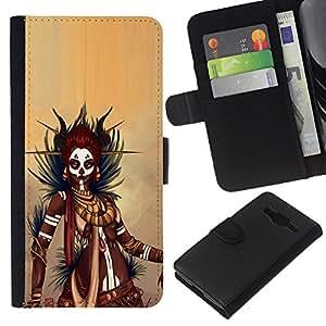 LECELL--Cuero de la tarjeta la carpeta del tirón Smartphone Slots Protección Holder For Samsung Galaxy Core Prime -- Negro guerrero de la mujer --