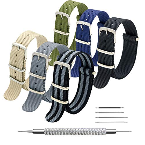 16mm Buckle - MEGALITH NATO Strap 6 Packs 16mm 18mm 20mm 22mm 24mm Nylon Watch Band Premium Ballistic Zulu Watch Straps for Men Women with Stainless Steel Buckle