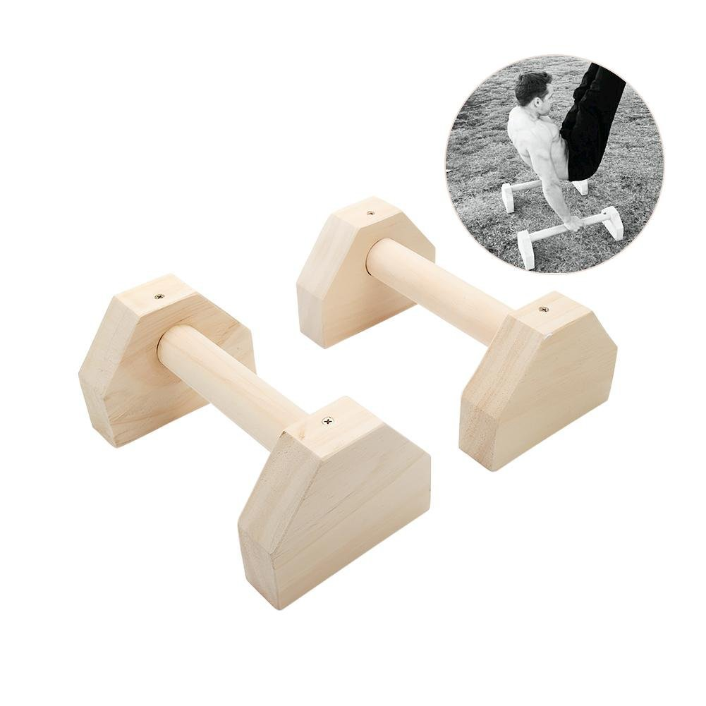 Feileng Wood Parallettes (Set of 2) Handstand Pushups,Stands Bars,Non-Slip Yoga & Gymnastic Training Tool Russian Style Stretch Push-Ups Double Rod