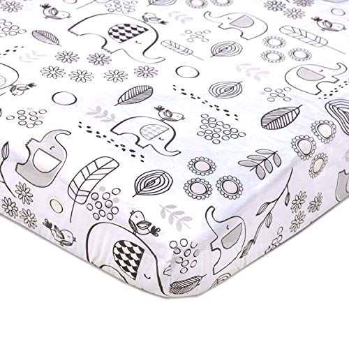 Lolli Living 100% Cotton Crib Fitted Sheet. Kayden Elle Elephant Pattern Ultra-Soft Fitted Crib Sheets (Standard Size. 27x52x8 inch)