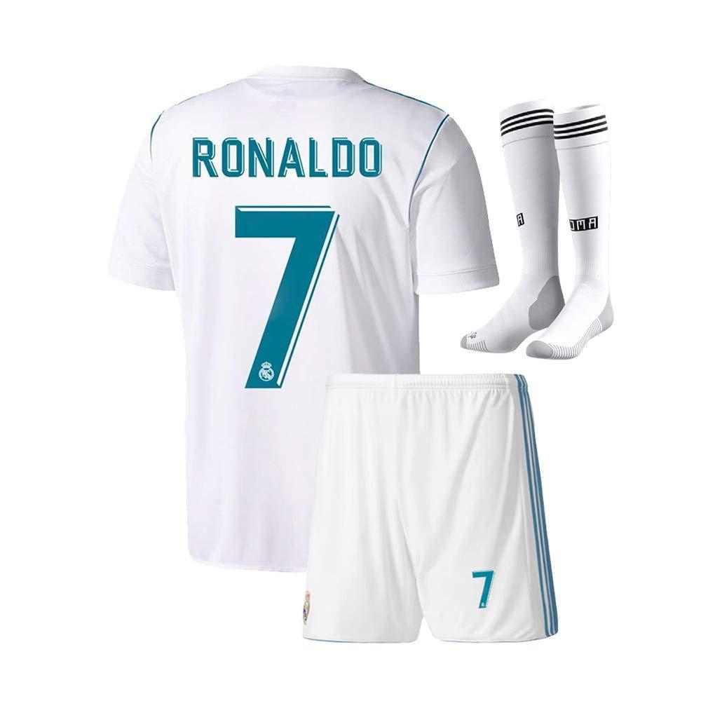 new style f7e0f 37fc2 Youth Real Madrid #7 Ronaldo Kids Home Soccer Jersey & Shorts Socks Boys  Sizes White