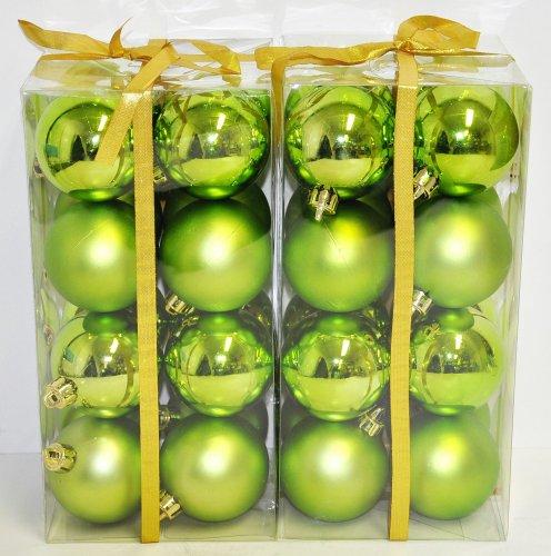 Christbaumkugeln Hellgrün.32x Christbaumkugeln Grün 6cm Glanz Matt Weihnachtskugeln Kunststoff
