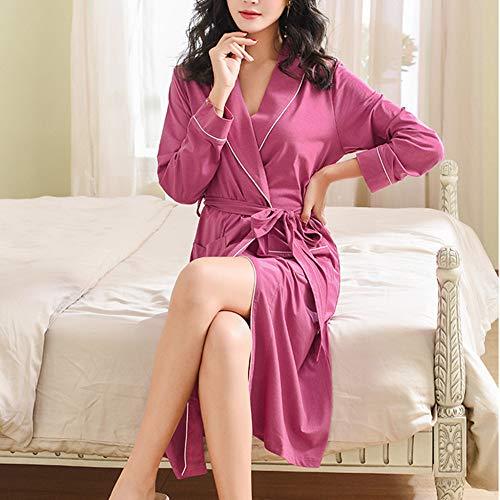 Para Ropa Albornoz Dormir Larga Camisón Manga Primavera Señoras Tamaño Purple Gran Mujer De Otoño Bata 7B7vAwr