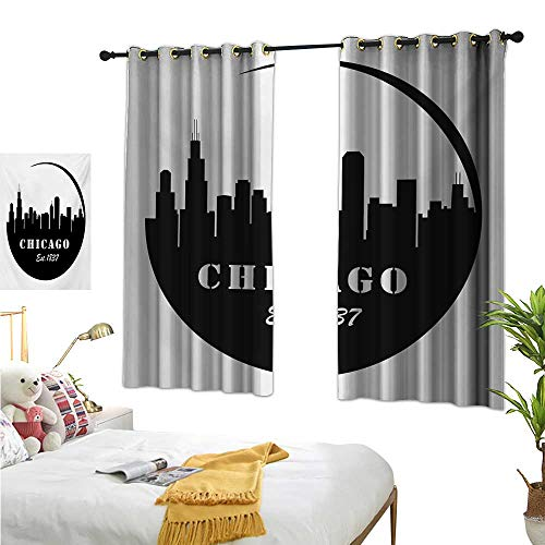 RuppertTextile Simple Curtain American Town Famous Urban Design in Black I Love Chicago Architecture 55