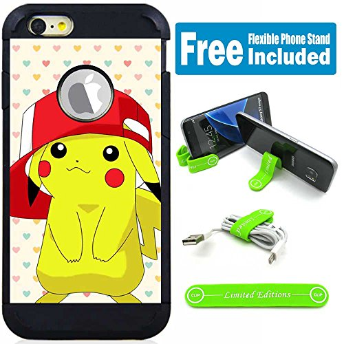 Apple iPod Touch 5/6 5th/6th Generation Hybrid Armor Defender Case Cover with Flexible Phone Stand - Pokemon Pikachu Hat Heart