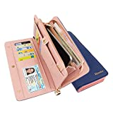 Wallets for Women RFID Blocking Fashion Clutch Zipper Colorful Leather Long Purse Wrist Strap with Phone Pocket (Deep Blue)