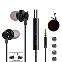 Wired Earbuds with in-Line Microphone and Volume Remote, Tangle-reducing Elastic TPE Cable, Noise-Isolating Supreme Sound with Powerful Bass and Precision Highs, Orange Carrying Case Included