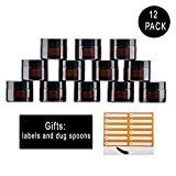 Snow Diamond 12pcs, 1 oz Empty Amber Round Glass Jars, with White Inner Liners and black Lids,Containers for Cosmetics, Face cream, Beauty, Lotions, Body Scrubs & Balms (30ml/1 oz, 12 pcs)