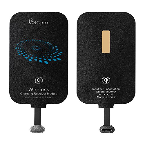 Type C Wireless Charging Receiver, CHGeek USB-C Qi Receiver Module Wireless Charger for Pixel 5 LG G5 V20 ZTE Axon 7 Nexus 6P 5X HTC 10 Oneplus 3 2 Huawei P9(NOT block fingerprint sensor)