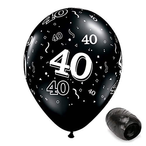 d Onyx Black 40th Birthday Latex Balloons with Matching Ribbons (Hill Latex Balloons)