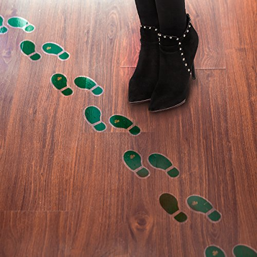 Leprechaun Footprint Floor Decals Stickers (16 Pairs) for St. Patrick's Day Decoration