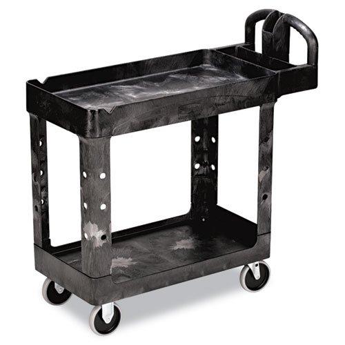 Rubbermaid Commercial Heavy-Duty Utility Cart, 2-Shelf, 17-7/8w x 39-1/4d x 33-1/4h, Black - one cart.