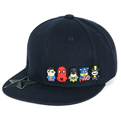 ililily Cute Superheroes Rubber Charms Flat Bill Snapback Hat Baseball Cap (One Size, Navy) ()