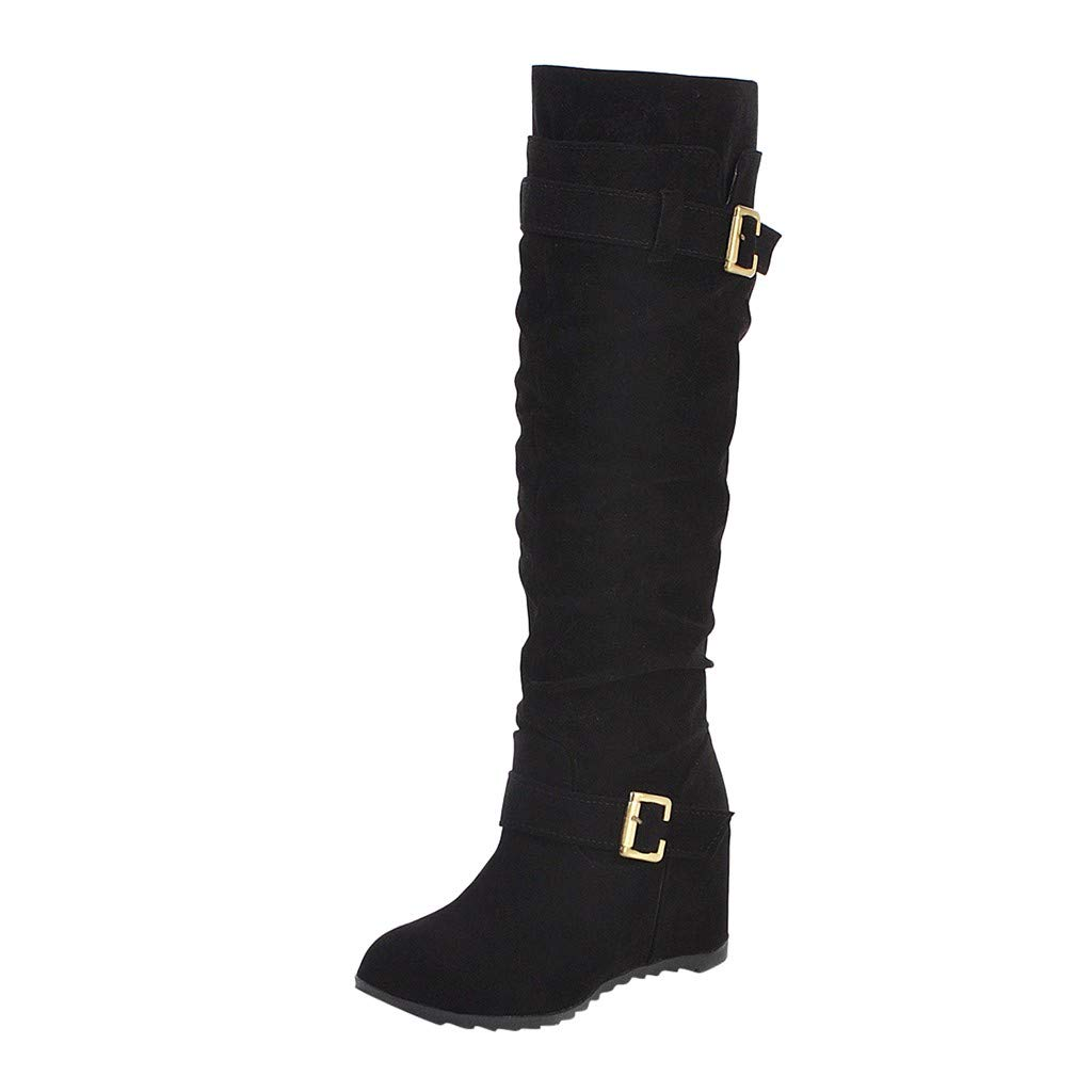 Dasuy Women's Over The Knee Pull on Boots Wide Width Wide Calf Hidden Wedges Heel Mid Calf Thigh High Riding Boot (US:9.5-10(42), Black) by Dasuy