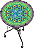 "outdoor space design 22"" Peacock Design Glass & Metal Side Table by Trademark Innovations"