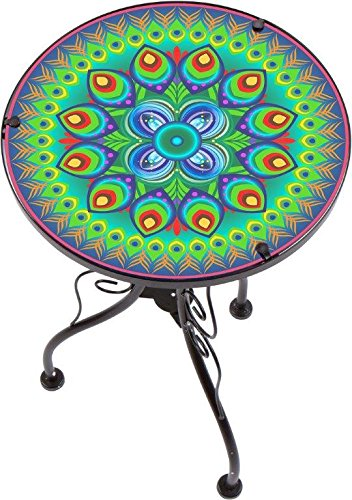 "22"" Peacock Design Glass & Metal Side Table by Trademark Innovations"
