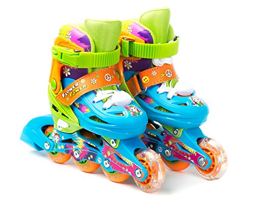 Power Roller Skate - Titan Flower Power Princess Girls Inline Skates with LED Light-up Front Wheel and LED Laces, Multi-Color, Kid Size Small (Flower Power Princess Small Skates)