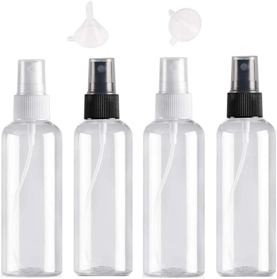 Bote Spray Botellas Vacía De Plástico Transparentes Contenedor de Pulverizador, Pulverizador Transparente Set de Botella de Spray de Viaje-4 Piezas (100ml)