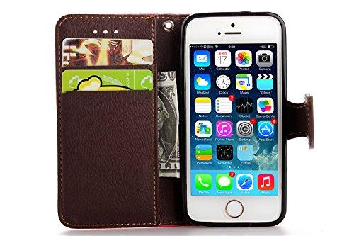 MOONCASE iPhone 5C Case Leder Tasche Flip Case Cover Schutzhülle Etui Hülle Schale für iPhone 5C Rot