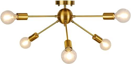 WBinDX Sputnik Chandelier 6 Lights Modern Chandelier Gold Brushed Brass Mid Century Vintage Ceiling Light Fixture for Bedroom Living Room Dining Room Kitchen Foyer Hallway Lighting