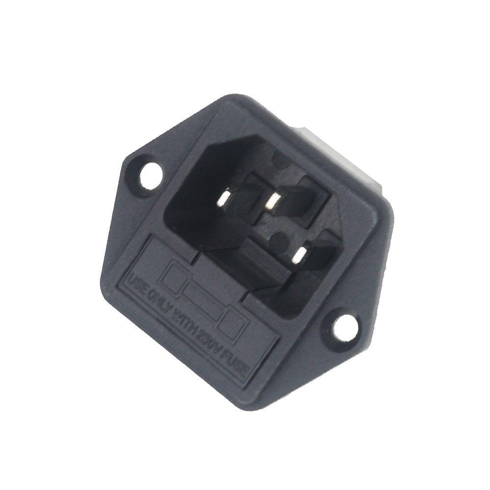 Inlet Module Plug 5a Fuse Switch Male Power Socket 10a 250v 5 Pcs Amazoncom 3 Ac 03