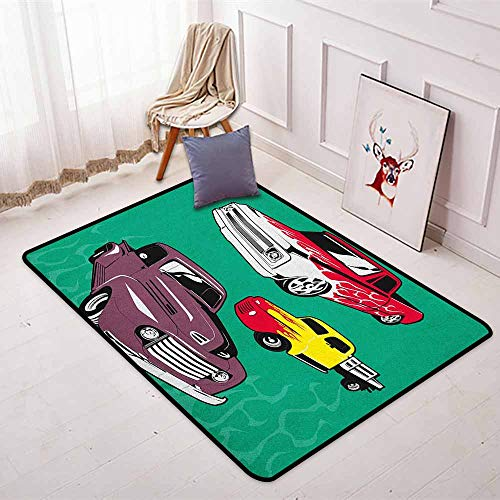 Truck Super Soft Round Home Carpet Colorful Vintage Pickups and Flatbed Flame Motif in The Hood Retro Vehicle Design for Sofa Living Room W31.5 x L59 Inch Multicolor