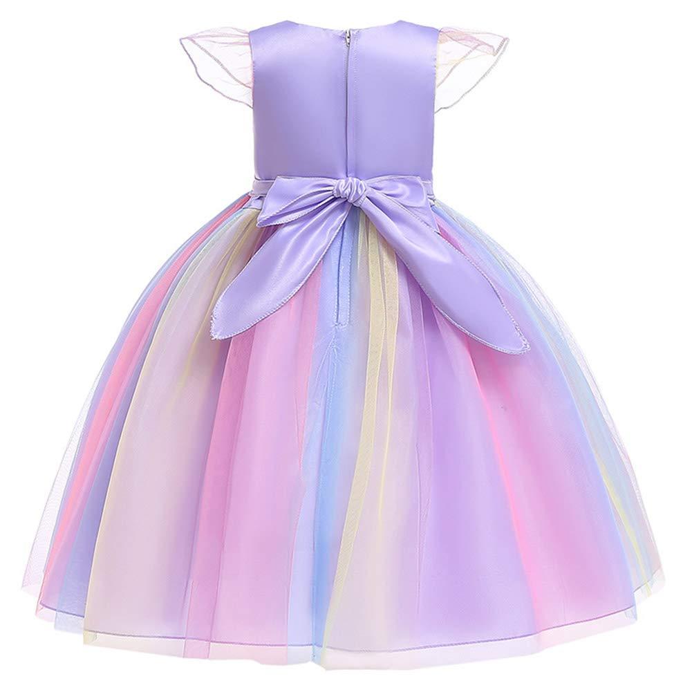 Leoie Baby Kids Girls Elegent Fashion Rainbow Color Mesh Tutu Princess Dress