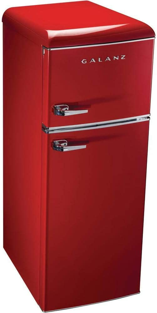 Red Left Hand Hinge Ft Refrigerator with 12.5 cu 2 Glass Shelves ft Freezer Smeg FAB32ULRD3 Upgraded Model 50s Retro Style Series 24-Inch Freestanding 9 Cu
