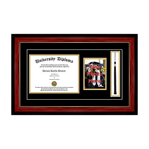 Single Diploma Frame with 5x7 Photo, Tassel and Double Matting for 8.5'' x 11'' Tall Diploma with Mahogany with Gold Lip 2'' Frame by Perfect Cases