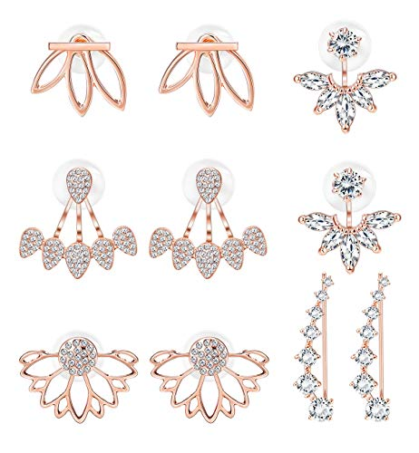 Milacolato 5 pairs Hollow Lotus Flower Ear Jackets For Women Girls Ear Stud Simple Chic Earrings Rose-gold