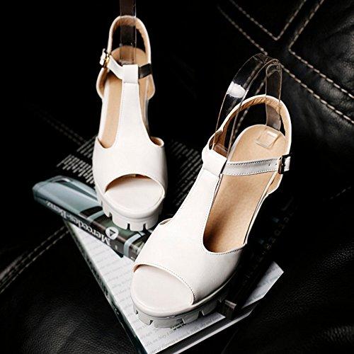 COOLCEPT Mujer Moda Correa En T Sandalias Peep Toe Slingback Plataforma Tacon Ancho Zapatos Blanco