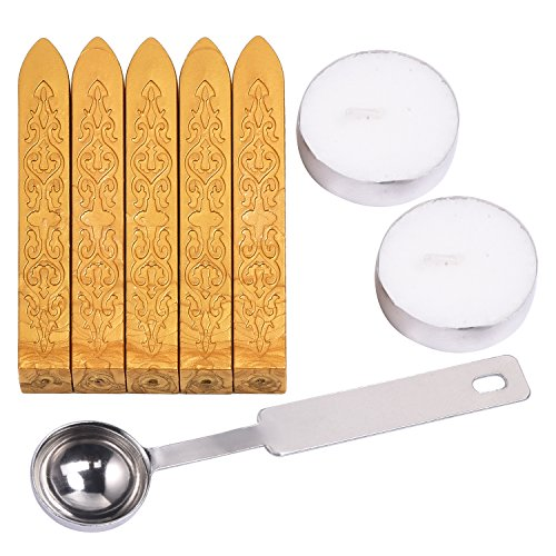 Outus Manuscript Sealing Wax Sticks without Wicks with Spoon and Candles for Envelops Postage Letter, 8 Pieces (Gold)