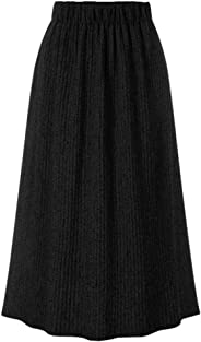 Houshelp Womens Flared Pleated Skirt A-line Midi Skirts Elastic Waist Retro Vintage Casual Long Skirts Winter Autumn