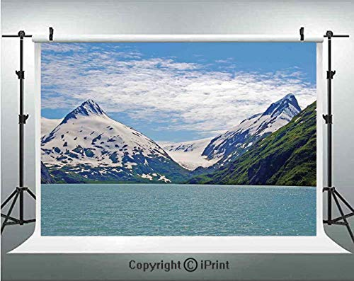 Lake House Decor Photography Backdrops Mountain and Lake in Anchorage Alaska Springtime Sunny Day Scenic View Picture,Birthday Party Background Customized Microfiber Photo Studio Props,7x5ft,White Gre -