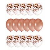 Rose Gold 18 inch Confetti Party Balloons Perfect for Any Event- Baby Showers, Bachelorette, Engagement Party, 21st Birthday, Quincianera, Fiestas - Complement Your Event Decorations and Supplies